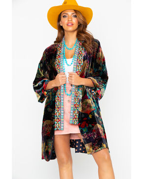 Johnny Was Women's Fusai Velvet Lined Kimono , Multi, hi-res