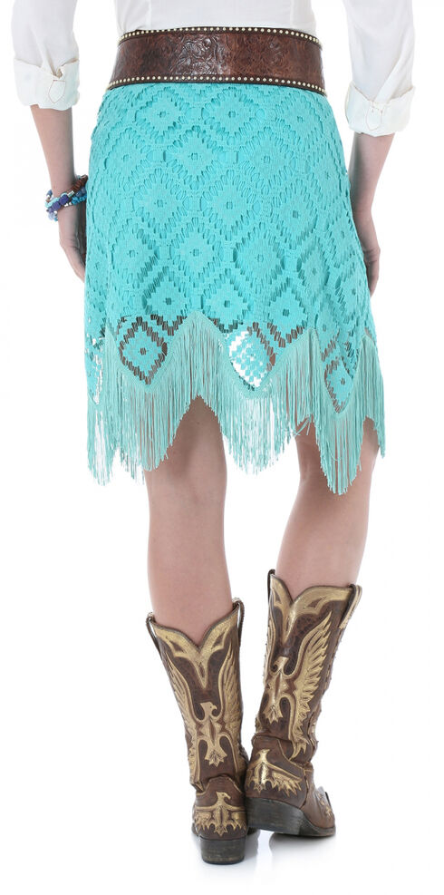 Wrangler Turquoise Crochet Fringe Western Skirt  , Turquoise, hi-res