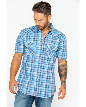Wrangler Retro Men's Large Plaid Short Sleeve Shirt , Blue, hi-res