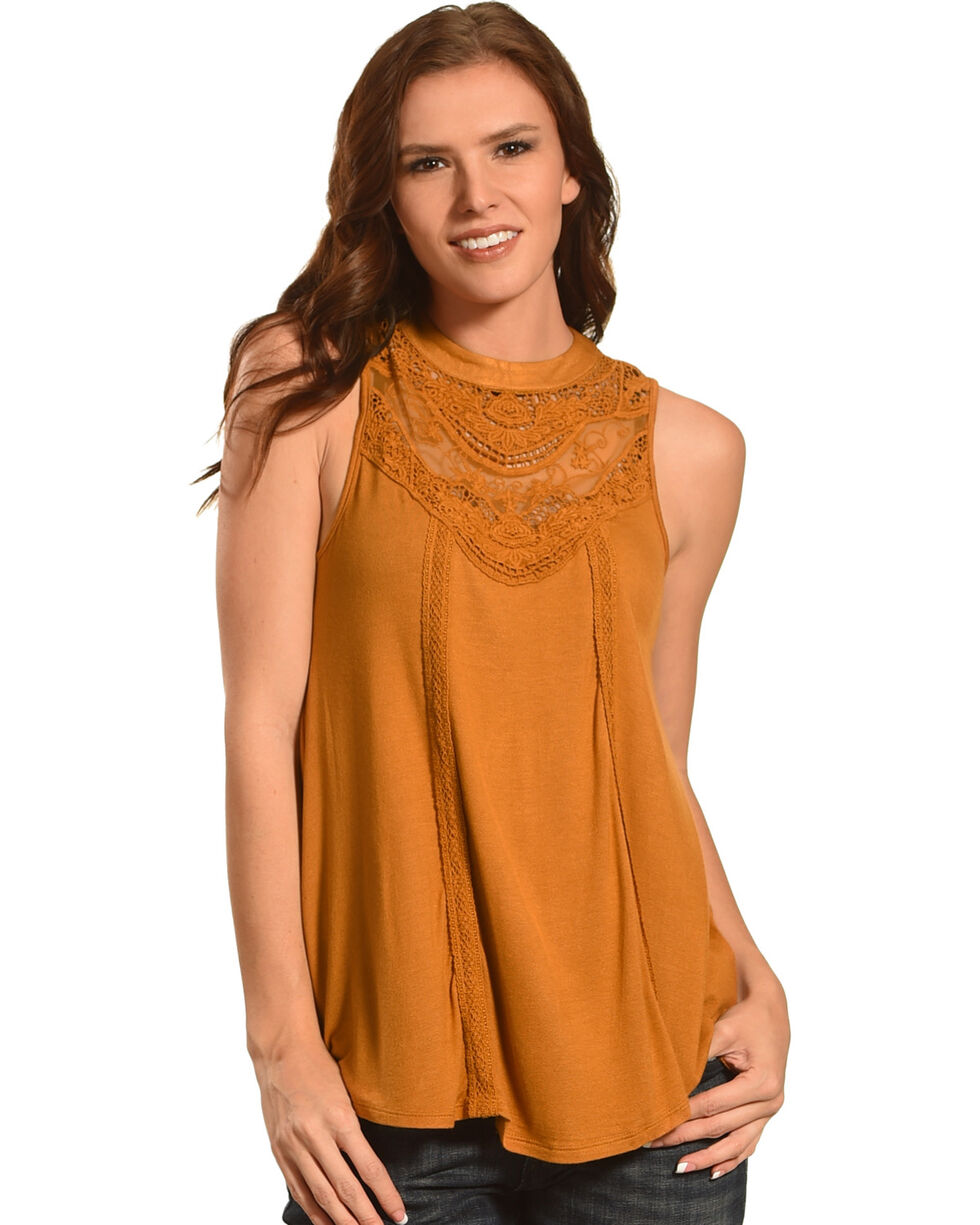 Eyeshadow Women's Crochet Lace Yoke Knit Tank, Gold, hi-res