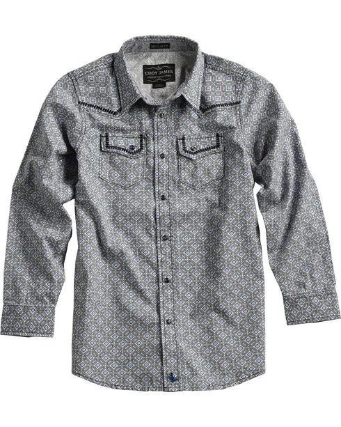 Cody James Boys' Geo Pattern Long Sleeve Shirt , Grey, hi-res