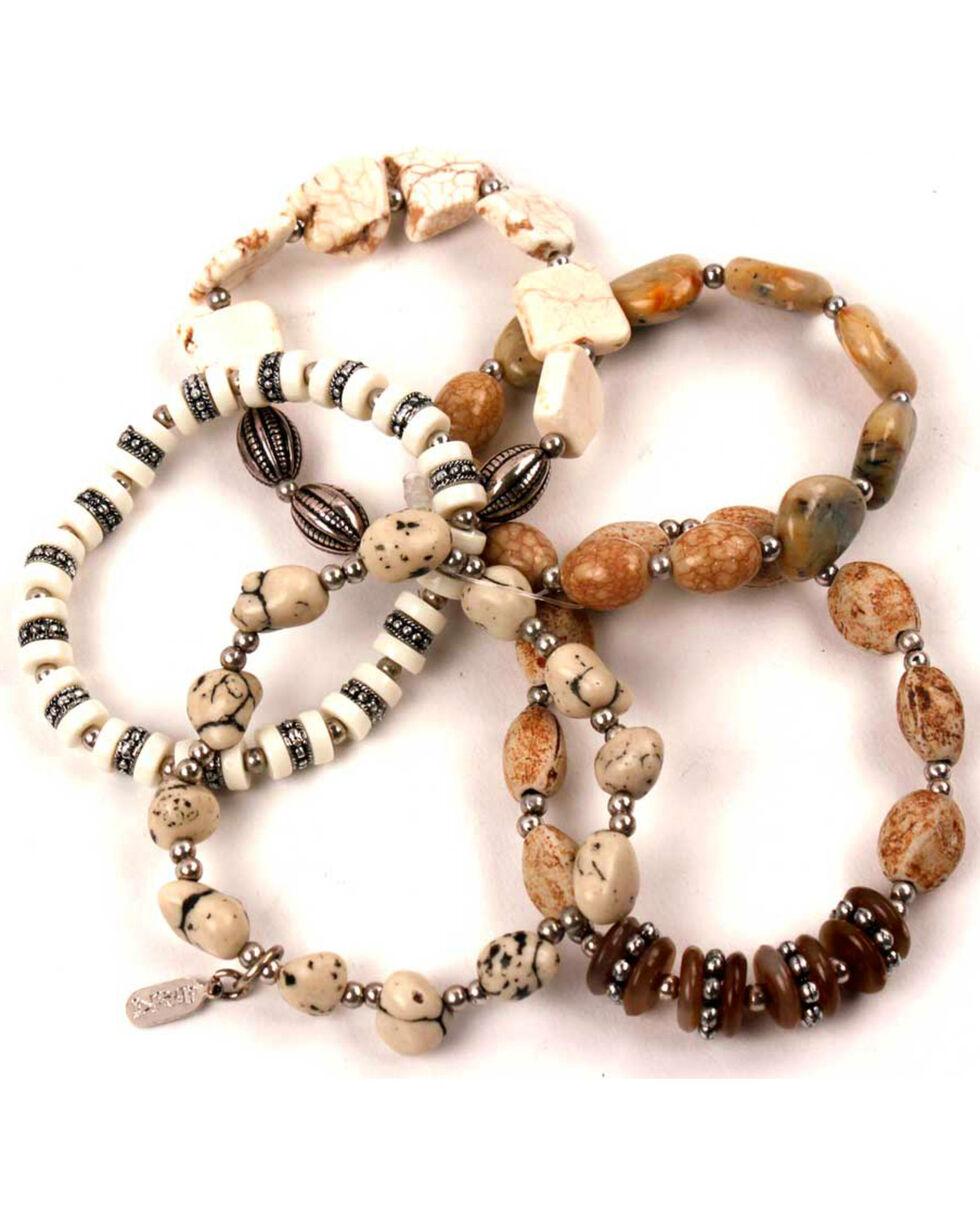 Treska Women's Tan 5 Strand Stretch Bracelet , Tan, hi-res