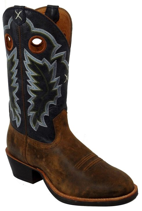 Twisted X Ruff Stock Cowboy Boots - Round Toe, Tan, hi-res