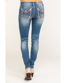 Miss Me Women's Floral Embroidered Light Skinny Jeans , Blue, hi-res