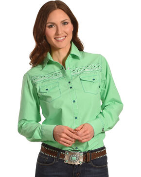Cowgirl Up Women's Green Embroidered Yoke Shirt , Green, hi-res