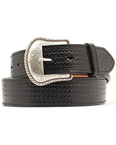 Double S Basketweave Embossed Leather Belt - Big, Black, hi-res