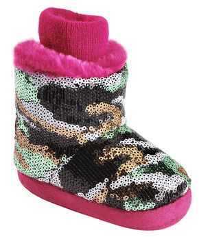Blazin Roxx Infant Girls' Sequin Camo & Pink Plush Bootie Slippers, Hot Pink, hi-res