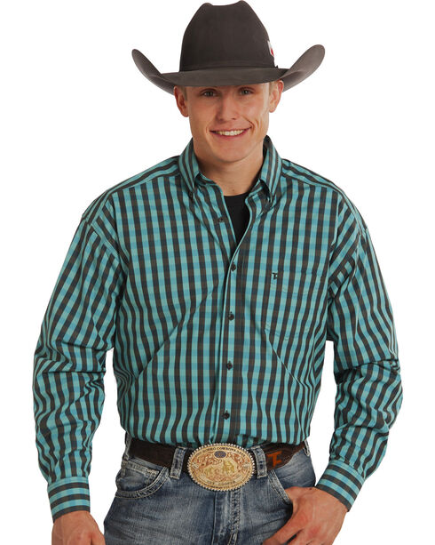 Tuf Cooper Performance Black and Turquoise Check Long Sleeve Shirt, Black, hi-res