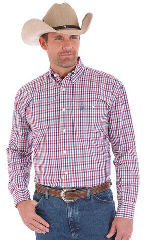 Wrangler Men's American Spirit George Strait Long Sleeve Plaid Shirt , Am Spirit, hi-res