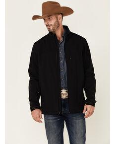 Cody James Core Men's Black Embroidered Logo Sleeve Zip-Front Softshell Jacket , Black, hi-res