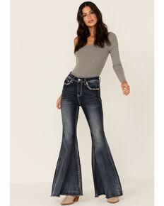 Grace in LA Women's Embellished Flare Jeans, Blue, hi-res