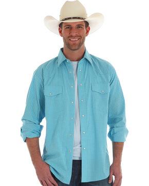 Wrangler Men's Blue Plaid Wrinkle Resistant Shirt , Light Blue, hi-res