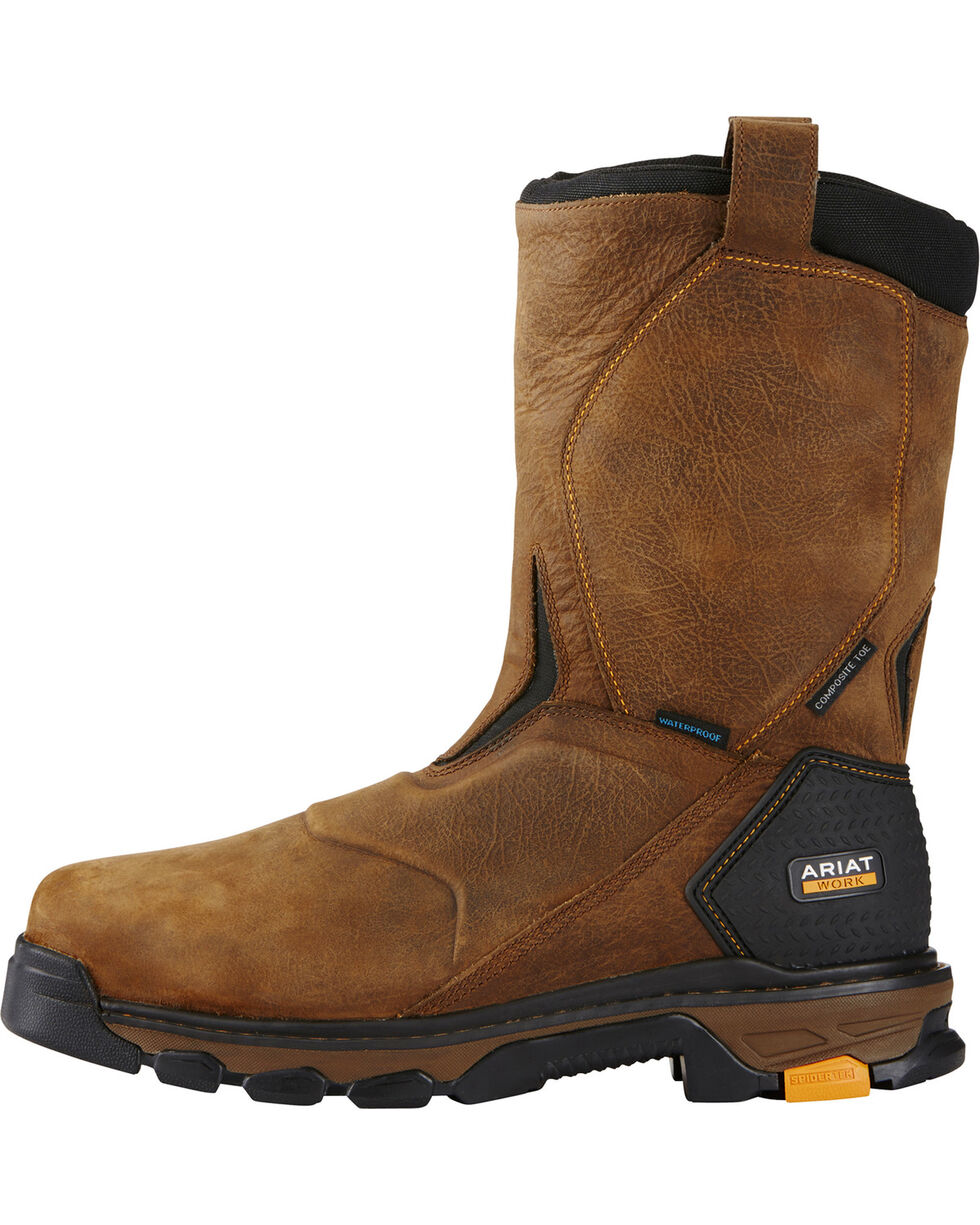 Ariat Men's Brown Intrepid Waterproof Work Boots - Composite Toe , Brown, hi-res