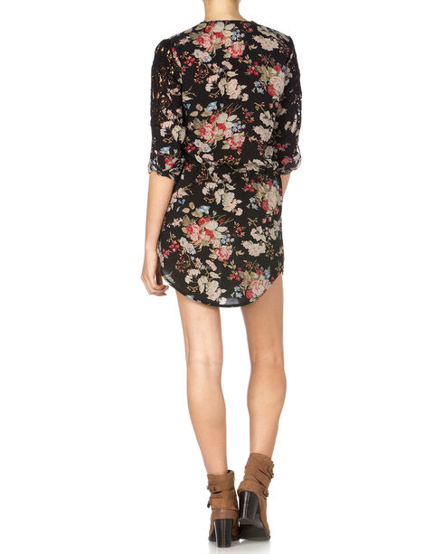 Miss Me Floral Front Dress, Black, hi-res