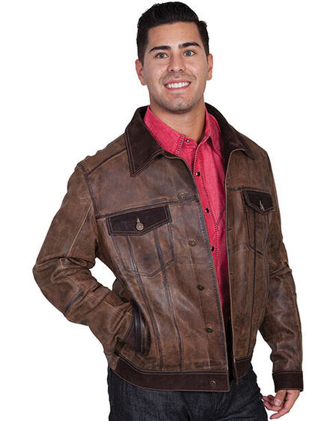 Scully Men's Vintage Calf Jean Jacket, Brown, hi-res