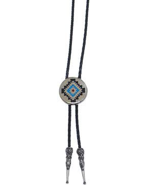 Western Express Aztec Design Bolo Tie, Silver, hi-res
