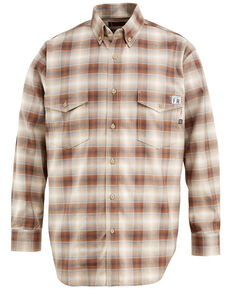 Wolverine 3X Men's Firezero Plaid Long Sleeve Western Twill Work Shirt , Beige/khaki, hi-res