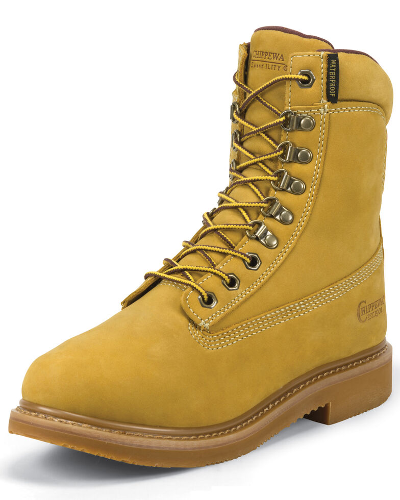 "Chippewa Gunnison Nubuc Waterproof & Insulated 8"" Lace-Up Boots - Round Toe, Golden Tan, hi-res"
