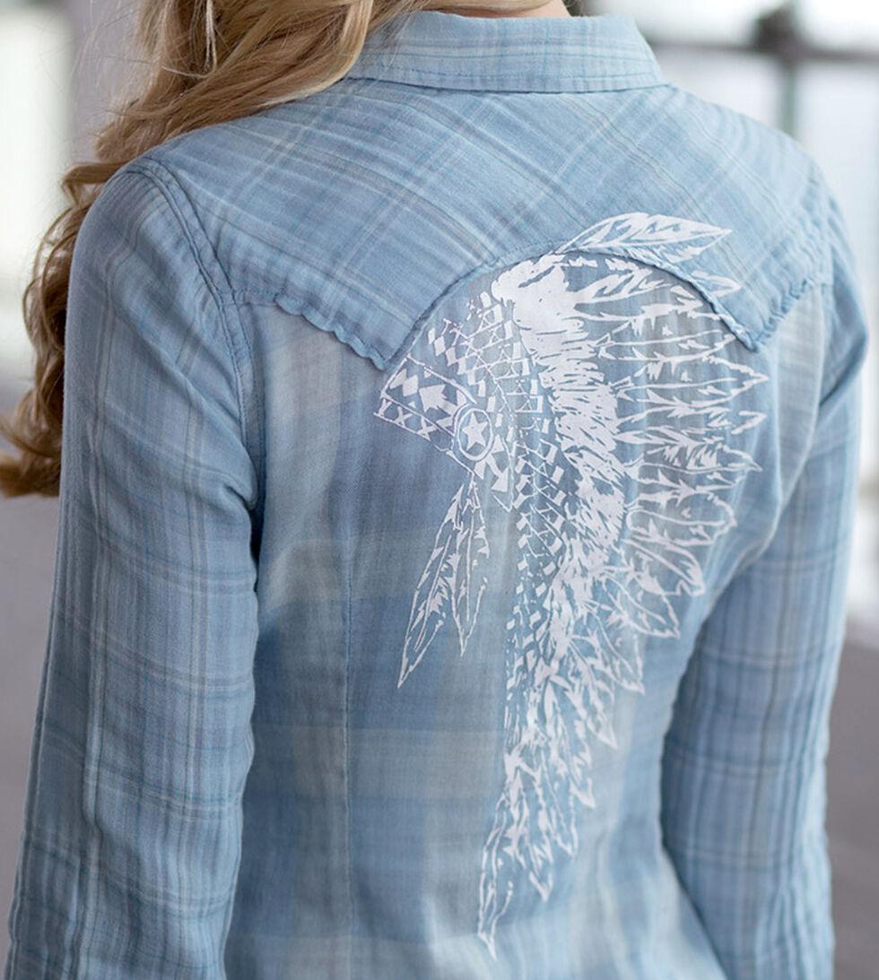 Ryan Michael Women's Indigo Plaid Headdress Print Shirt, Indigo, hi-res