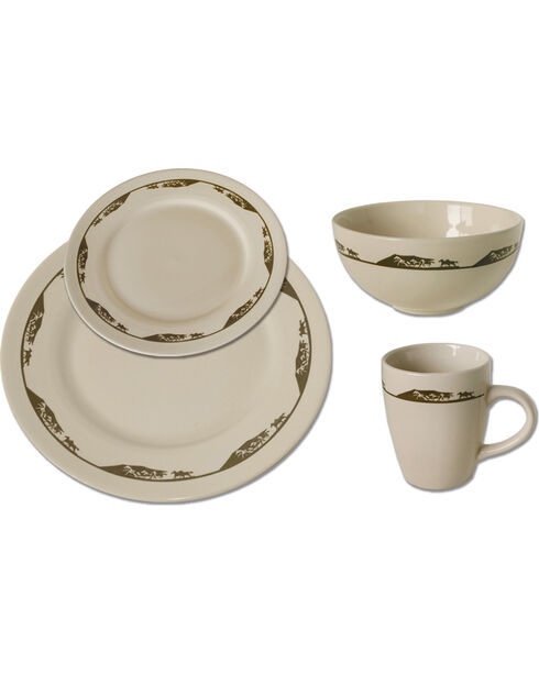 Moss Brothers 16-piece Running Horse Dinnerware Set , Ivory, hi-res