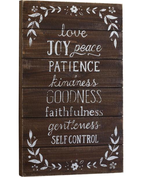 Demdaco Love Joy Peace Patience Wall Art , Brown, hi-res