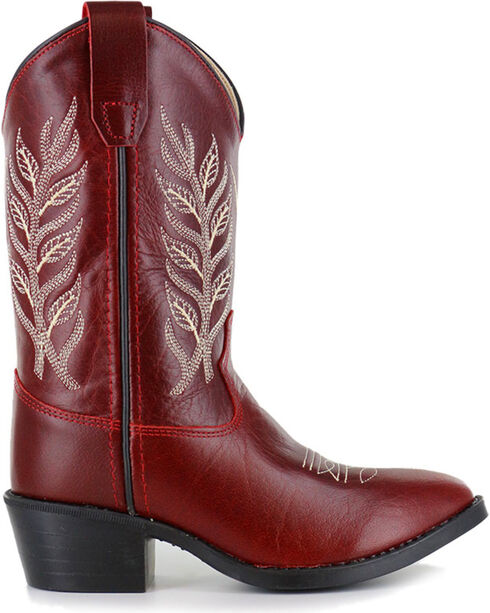 Shyanne Girl's Red Embroidered Western Boots - Pointed Toe , Red, hi-res
