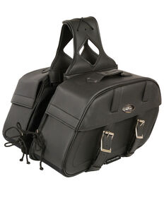 Milwaukee Leather Zip-Off Throw Over Rounded Saddle Bag, Black, hi-res