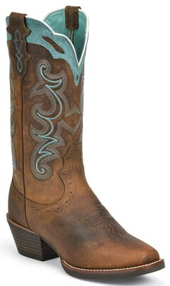 Justin Silver Blue Embroidered Cowgirl Boots - Square Toe, Brown, hi-res