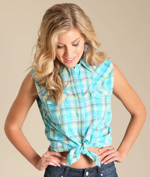 Wrangler Women's Sleeveless Plaid Two Pocket Shirt, Turquoise, hi-res