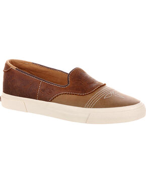 Durango Women's Brown Music City Slip-On Saddle Sneakers , Brown, hi-res