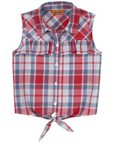Wrangler Girls' Red & Blue Plaid Ruffle Tie-Front Button-Down Western Top , Blue/red, hi-res