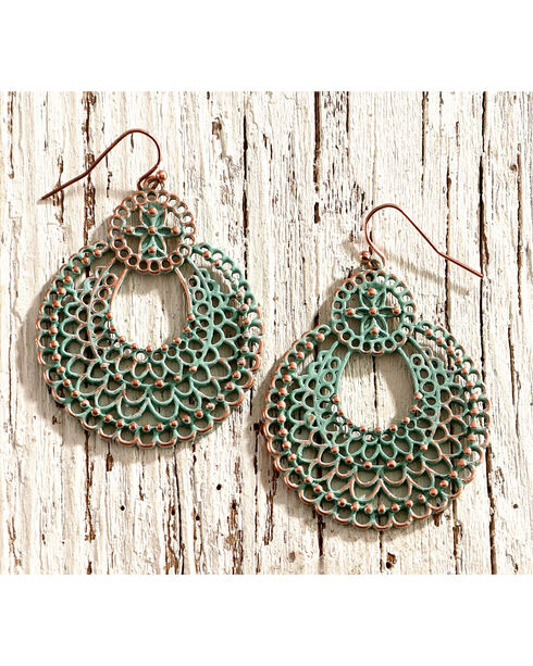 Shyanne Women's Patina Filigree Cutout Earrings, Turquoise, hi-res