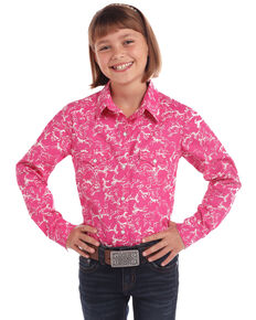 White Label by Panhandle Girls' Pink Horse Print Long Sleeve Western Shirt , Pink, hi-res