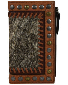 Tony Lama Women's Hair-On Brindle Wallet, Brown, hi-res