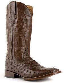Ferrini Men's Chocolate Colt Western Boots - Wide Square Toe, Chocolate, hi-res
