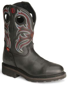 Tony Lama 3R Waterproof Pull-On Work Boots - Steel Toe, Black, hi-res