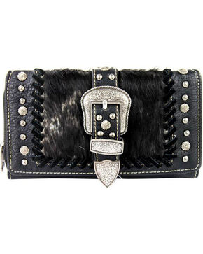 Shyanne Women's Faux Fur Tri-Fold Wallet, Black, hi-res