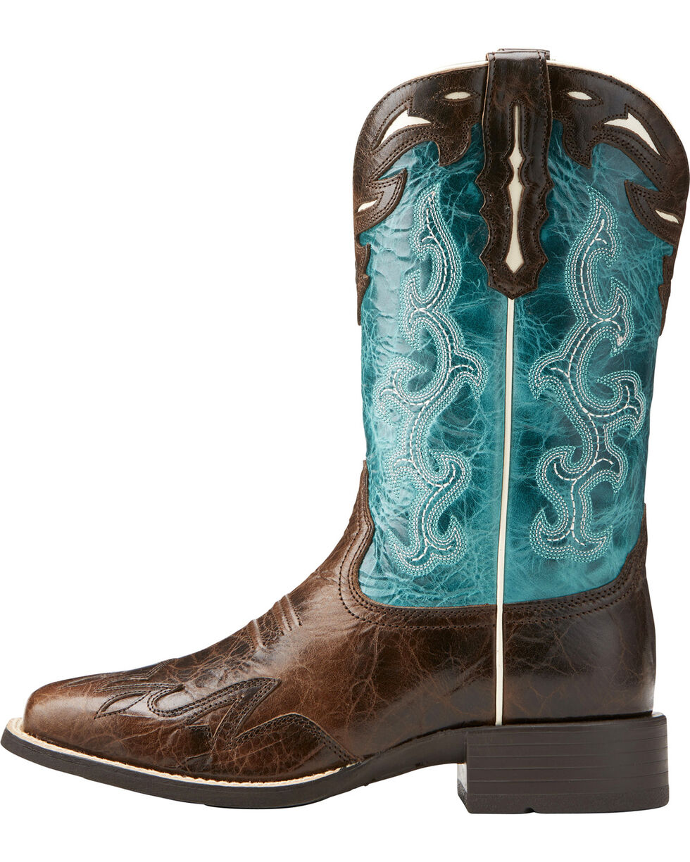 Ariat Women's Chocolate Sidekick Western Boots - Square Toe , Chocolate, hi-res