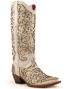 Ferrini Women's Bliss Western Boots - Snip Toe, White, hi-res