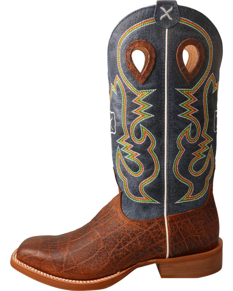 Twisted X Men's Ruff Stock Elephant Print Cowboy Boots - Square Toe, Cognac, hi-res