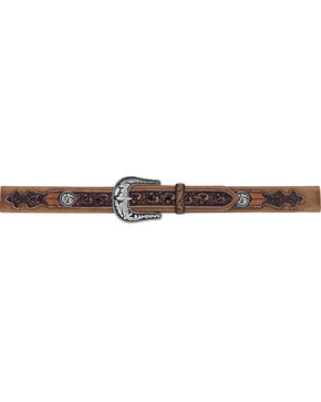 Tony Lama Men's Lubbock Lace Western Belt , Brown, hi-res