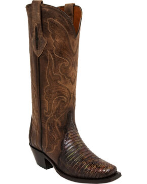 Lucchese Handmade Brown/Green Sasha Lizard Cowgirl Boots - Narrow Square Toe , Brown, hi-res