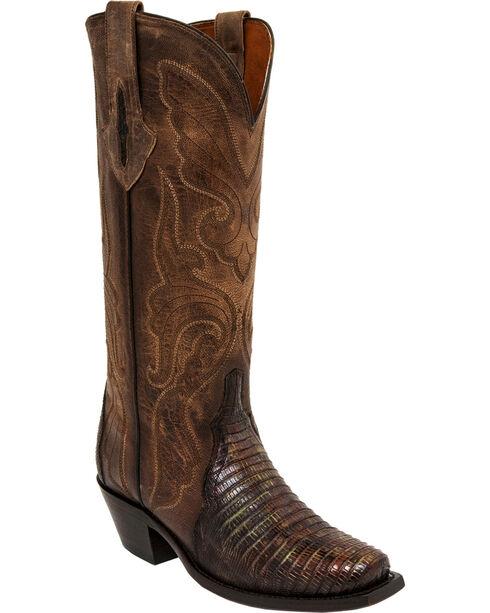 Lucchese Handmade Brown/Green Sasha Lizard Cowgirl Boots - Narrow Square Toe , Brown, hi-res