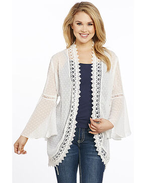 Cowgirl Up Women's Bell Sleeve Lace Kimono, Ivory, hi-res