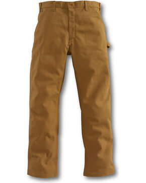 Carhartt Men's Flame-Resistant Duck Work Dungarees - Straight Leg , Brown, hi-res
