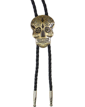Cody James Bronze Day Of the Dead Bolo Tie, Gold, hi-res