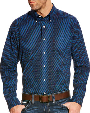 Ariat Men's Indigo Zerwood Print Western Shirt , Indigo, hi-res