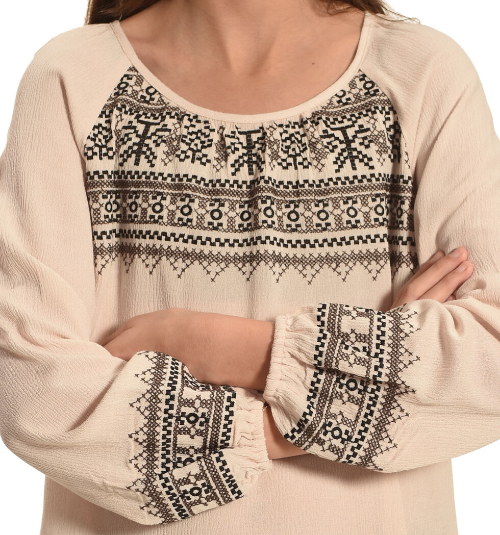 Miss Me Girls' Embroidered Long Sleeve Top , Taupe, hi-res