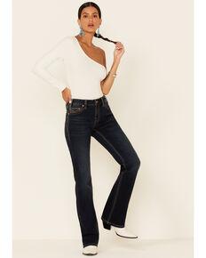 Panhandle Women's Mid-Waist Riding Bootcut Jeans, Dark Blue, hi-res
