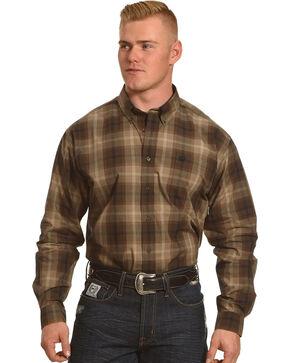 Cinch Men's Brown Plain Weave Plaid Long Sleeve Button Down Shirt - Big, Brown, hi-res